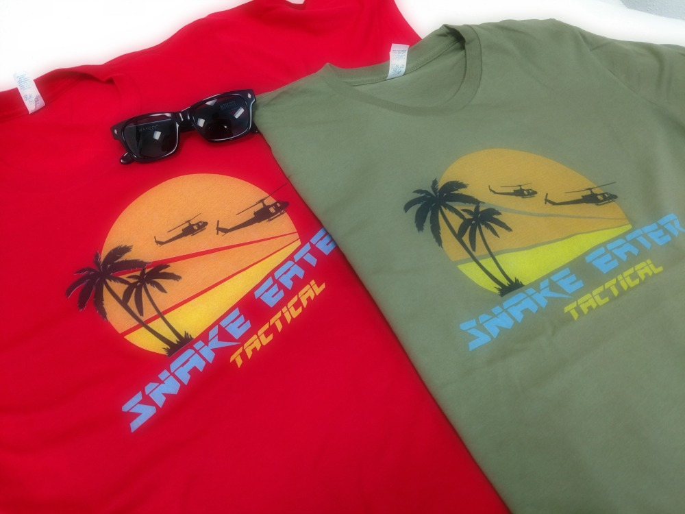 Sunset T Shirt, red and green