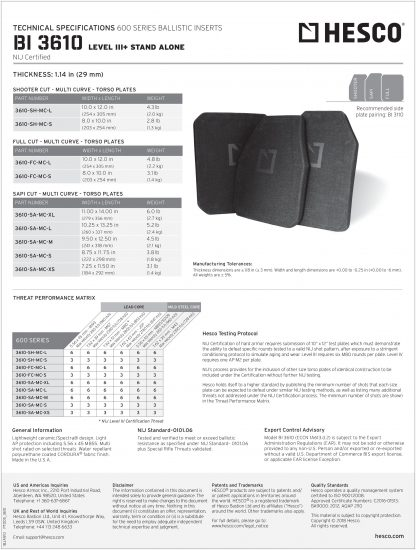 3610 Hesco Level III tech sheet rifle torso armor plate