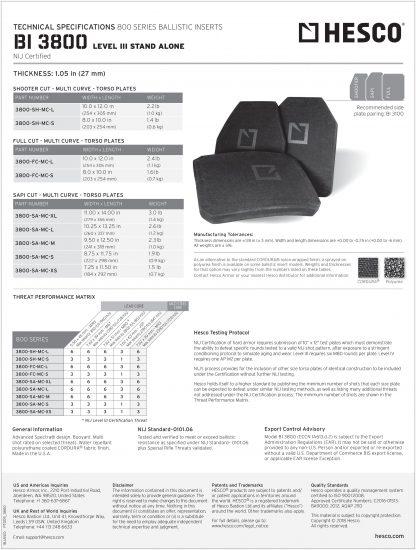 Hesco level III tech sheet armor rifle plate torso