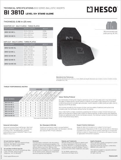 Hesco level III+ tech sheet armor rifle plate torso