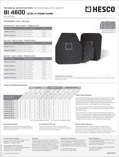 4600 Hesco Level III tech sheet rifle torso armor plate