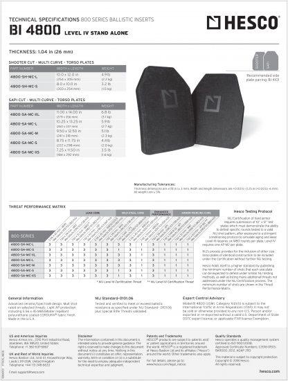 Hesco level IV tech sheet armor rifle plate torso